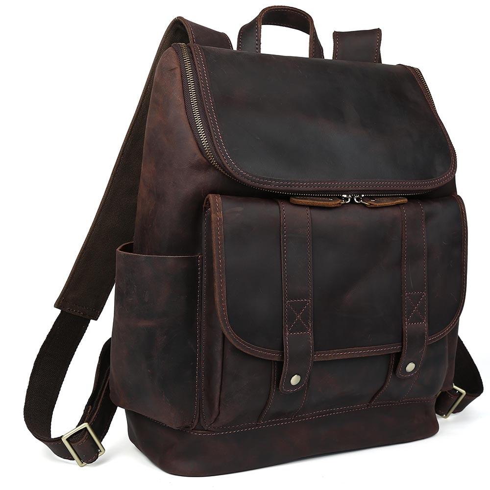 Tiding Cowhide Genuine Leather School Laptop Straps Backpack For Men Zipper Rucksack Bag 3149 tiding genuine leather school backpack for teenage girls vintage stylish ladies drawstring 14 inch laptop backpack 2017