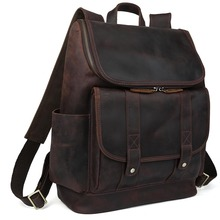 Tiding Cowhide Genuine Leather School Laptop Straps Backpack For Men Zipper Rucksack Bag 3149