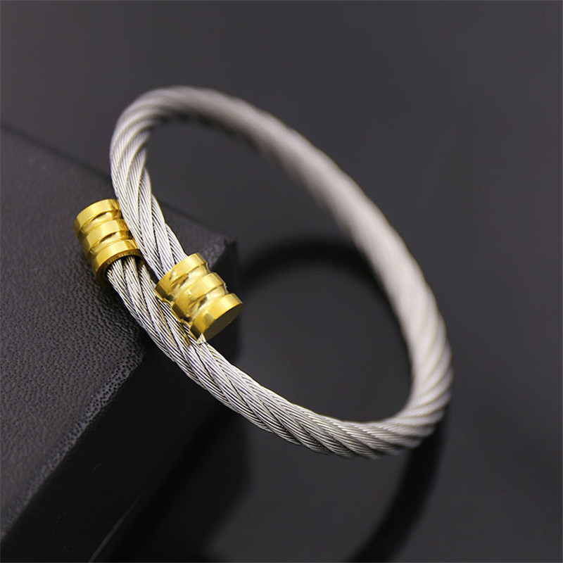 Burning goods free shipping Fashion stainless steel wire bracelets viking men jewelry birthday gifts Diameter 60 mm 5 colors