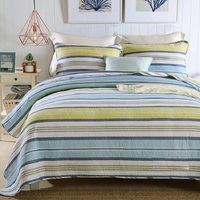 CHAUSUB Summer Quilt Set 3PCS Washed Cotton Quilts Quilted Bedspread Bed Cover Sheets Pillowcase Stripe Coverlet Set KING Size