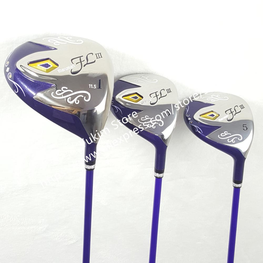 2018 womens Golf wood set Maruman FL III Golf driver+fairway Wood clubs with Graphite Golf shaft L flex and cover Free shipping дорожка 900 1500мм