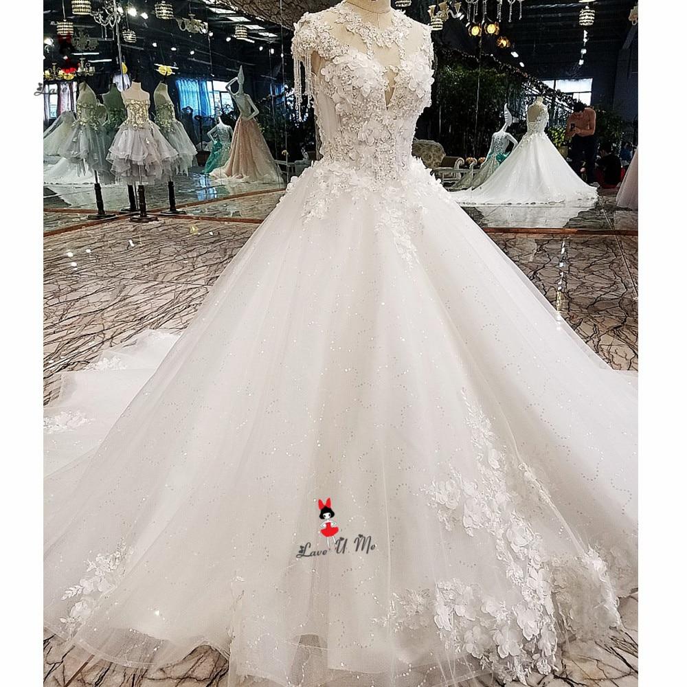 Vestido Branco 2019 Vintage Wedding Dress 3D Flowers