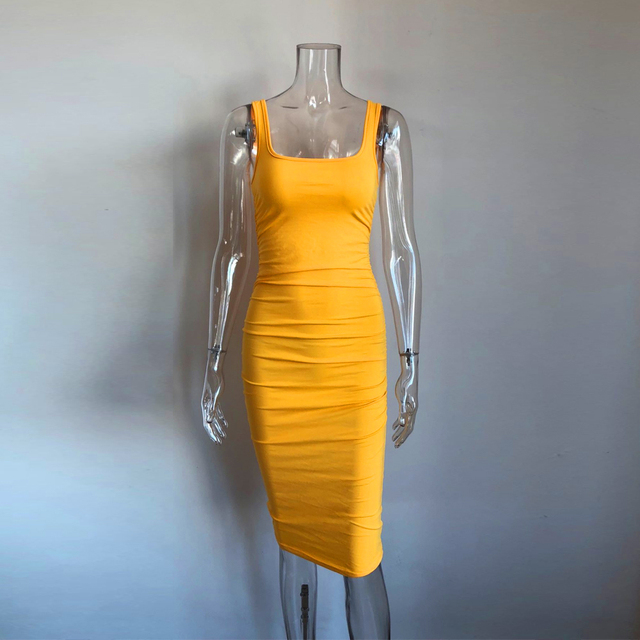 KGFIGU Kendall jenner Yellow bodycon dress 2019 Summer sleeveless skinny ropa mujer knee length vestidos High quality 4