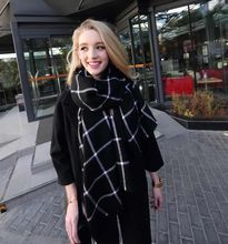 2015 195CM * 80CM New Lady Women Blanket black white Plaid Cozy Checked Tartan Scarf Wraps shawl