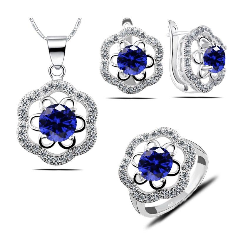 188c287ce208 Conjunto de joyas con Logo de cristal azul cielo color plata 925 para  mujeres pendientes anillo Collar colgantes