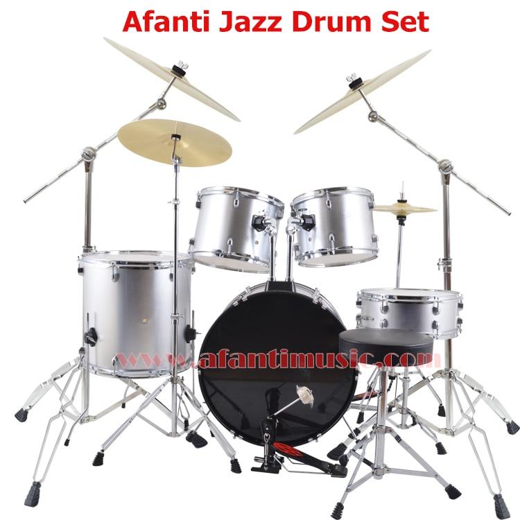 5 drums 4 cymbals silver color afanti music jazz drum set drum kit ajds 432 in drum from. Black Bedroom Furniture Sets. Home Design Ideas