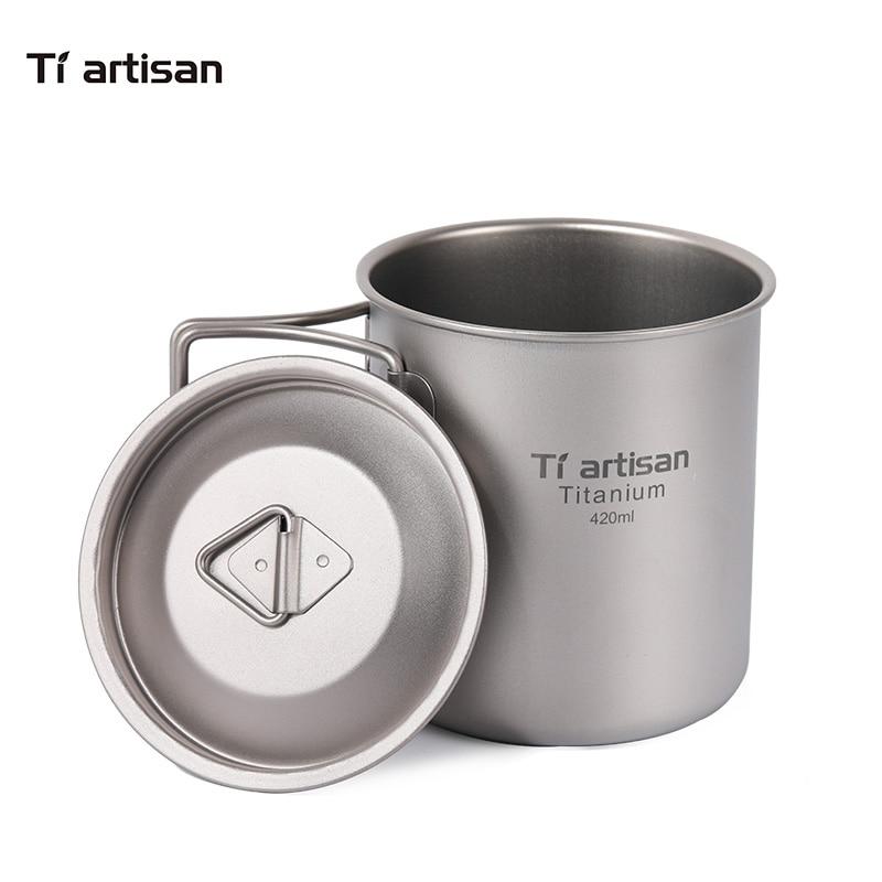 Tiartisan Pure Titanium Outdoor Camping Mugs Foldable Handle lightweight Cup Portable 420ml Drinkware Coffee mug Ta8306