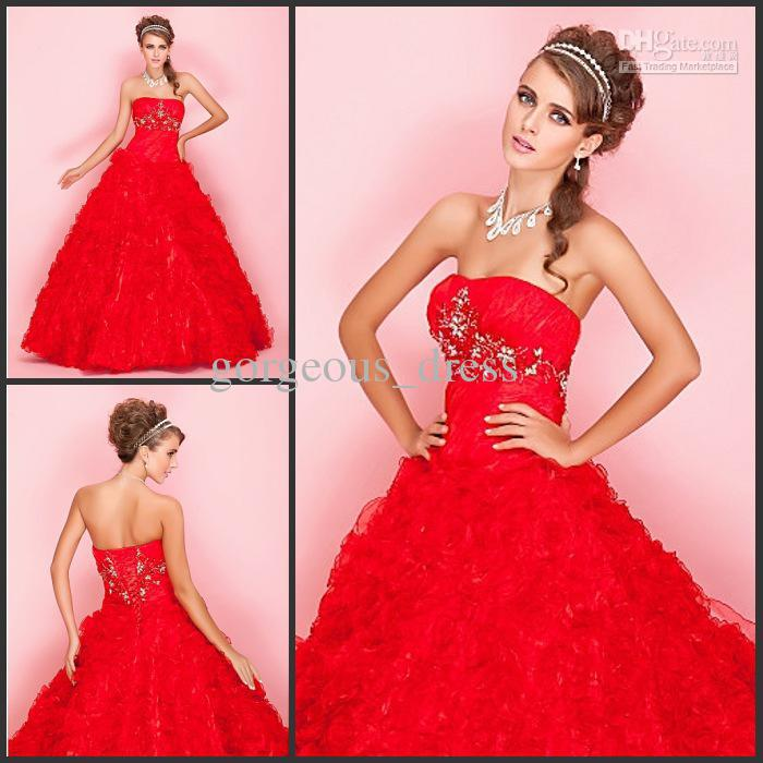 New Arrivalbright Red Wedding Dresses Bridal Dresses Bright Red