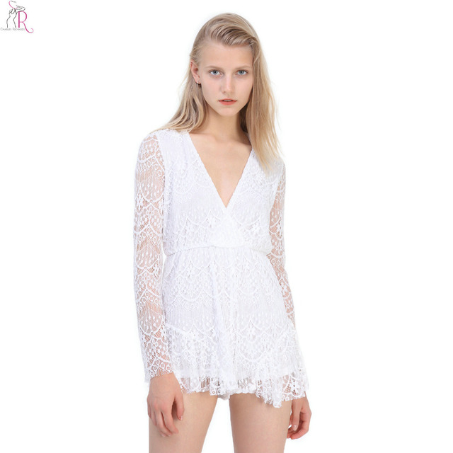 fa07758f10f White Long Sleeve Lace Floral Crochet Romper Playsuit Slim Casual Vintage  Streetwear Beachwear 2017 Women Summer