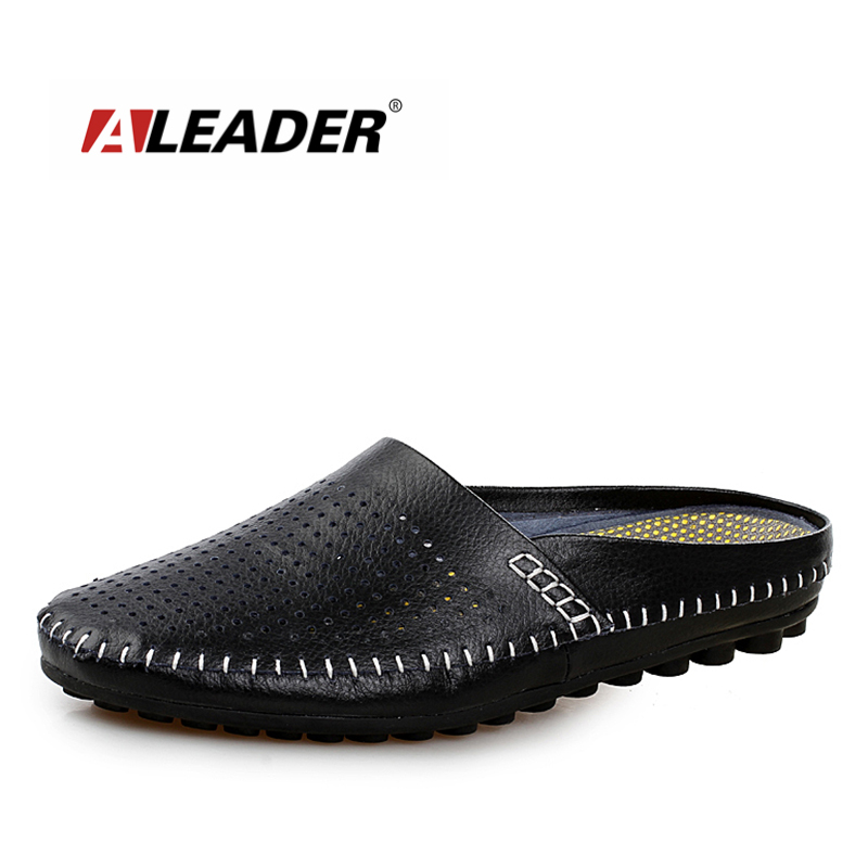 Aleader Genuine Leather Men Loafers 2017 High Quality Slip On Casual Slippers Shoes Breathable Driving Mocassins Flats For Men одежда больших размеров y06 171 2015 g94
