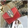 New good quality fashion fox buckle rivets bamboo ladies casual handbag shoulder bag women's purse crossbody messenger bag