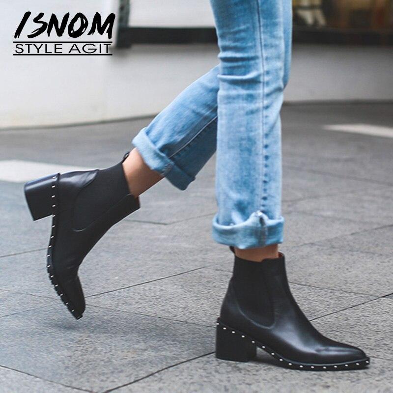 Ayakk.'ten Ayak Bileği Çizmeler'de 2020 Son Perçin Chelsea Çizme Kadın yarım çizmeler Kış Patik Hakiki Deri kadın Yüksek Kare Topuk Ayakkabı Kadın Ayakkabı'da  Grup 1