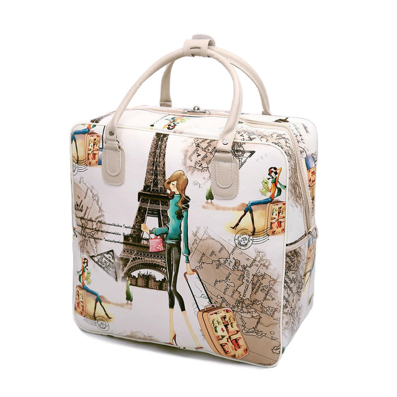 Fashion Women's Cute Travel Bag Girls Lovely PU Leather Shoulder Duffel Bag Tote Large Capacity Luggage Bag LGX62