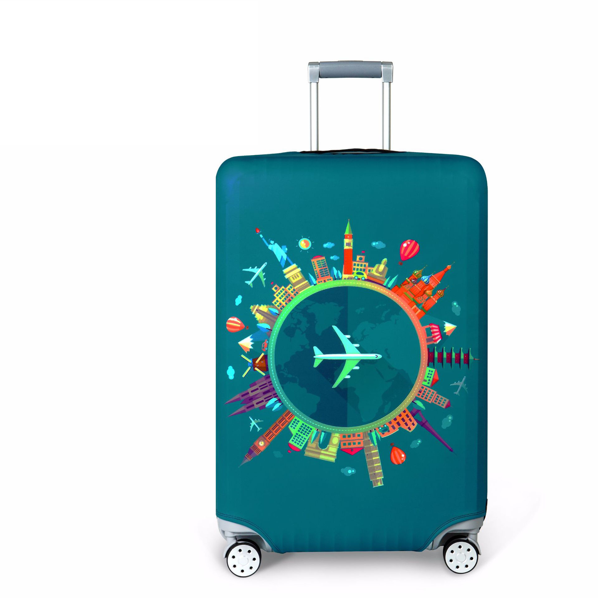 Thicker Blue City Luggage Cover Travel Suitcase Protective Cover for Trunk Case Apply to 19''-32'' Suitcase Cover 273