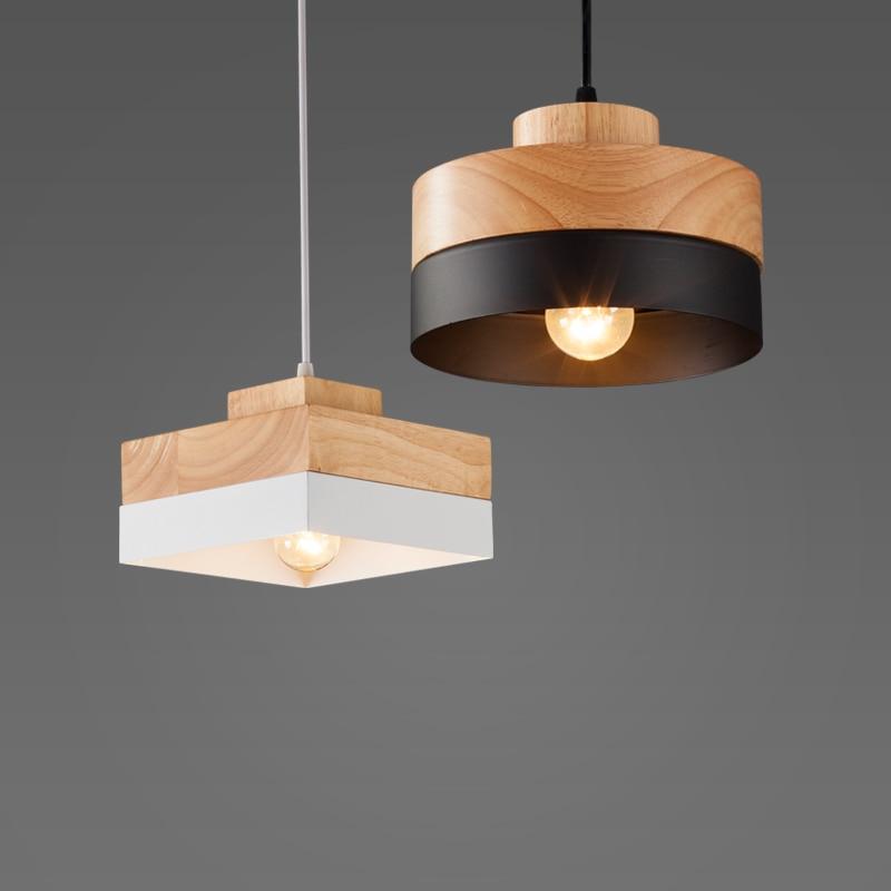 Nordic Fashion Wood Iron Light Study Office Porch Aisle Corridor Living Room Dining Room Bar Cafe Chandelier Light Droplight
