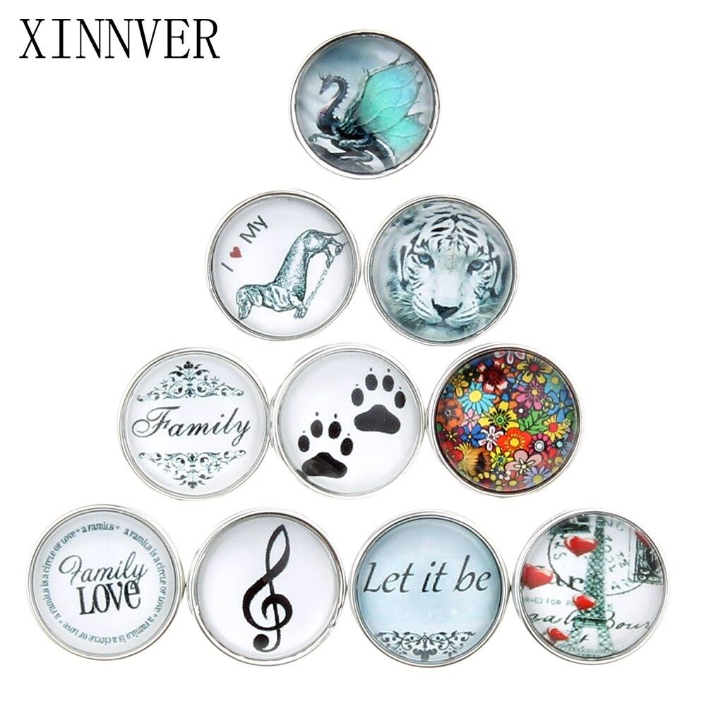 10 Pcs/lot Beautiful Snap Button 18MM Round Glass Xinnver ...