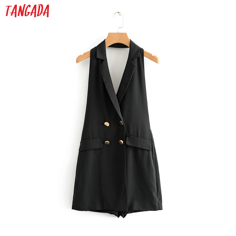b37fba84cb2 Detail Feedback Questions about Tangada korea fashion women black jumpsuit  double breasted 2018 new arrival ladies playsuit sleeveless brand 2XN17 on  ...