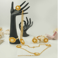 Wholesale / Retail Free Shipping African Gold Five-piece Necklace Jewelry Accessories Italy Unique Women's Wedding Jewelry S
