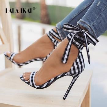 LALA IKAI/шотландская клетчатая обувь на высоком каблуке, женская обувь с перекрестной шнуровкой, женская обувь на высоком каблуке с ремешком н...