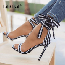 US $19.99 40% OFF|LALA IKAI Scottish Plaid High Sandals Women Cross Tied Heels Ladies Ankle Strap Lace Up Party Bow High Shoes 014C1880 4-in High Heels from Shoes on Aliexpress.com | Alibaba Group