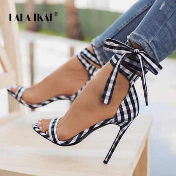 LALA IKAI Scottish Plaid High Sandals Women Cross-Tied Heels Ladies Ankle Strap Lace Up Party Bow High Shoes 014C1880-3 - DISCOUNT ITEM  30% OFF All Category
