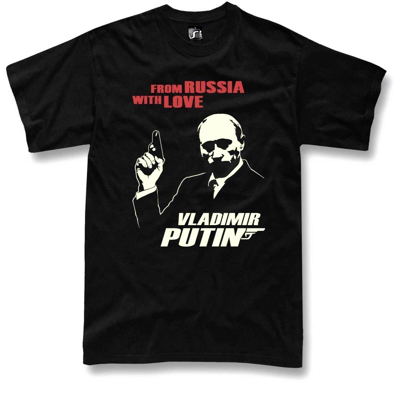 Putin T Shirt Russia James Bond 007 USSR Silver Print Black Tee S - 5XL