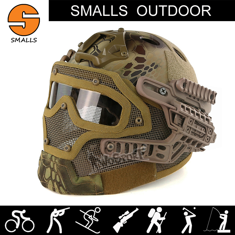 Paintball Tactical Combat helmet WoSporT New Military Airsoft Paintball camouflage Fast Helmet Mask with Goggles for hunting sw5888 protective abs tactical cycling wild gaming helmet camouflage yellow black