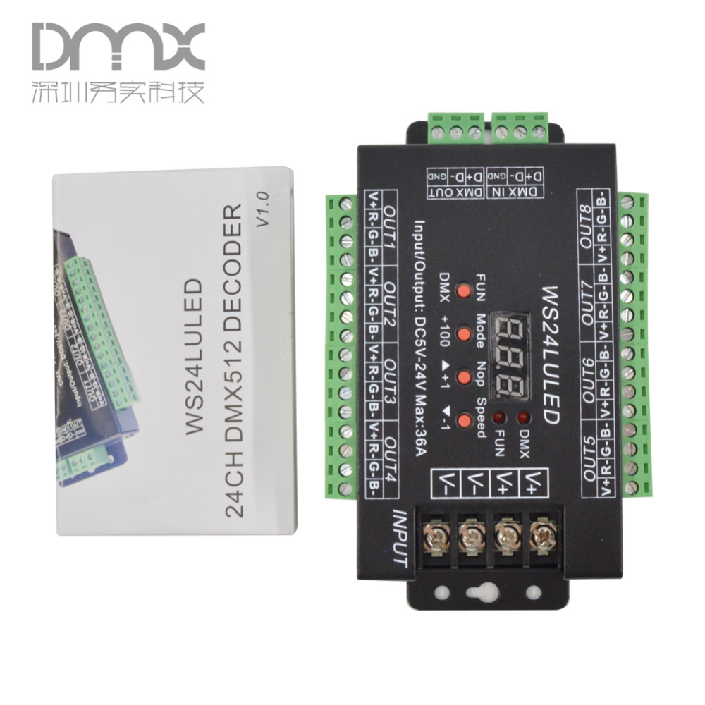 Fast shipping 3pcs 24CH dmx512 Controller, decoder,WS24LULED 24 channel 8groups RGB output,DC5V-24V for LED strip light module mokungit 24ch easy dmx512 rgb decoder dimmer controller ws24luled dc5 24v 24 channel 8 group each channel max 3a