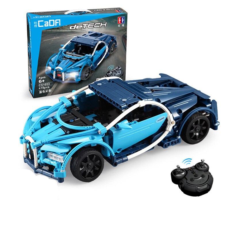 419pcs Technic Series Super Blue Sports RC Car Set DIY Building Blocks Bricks Model fit Racing