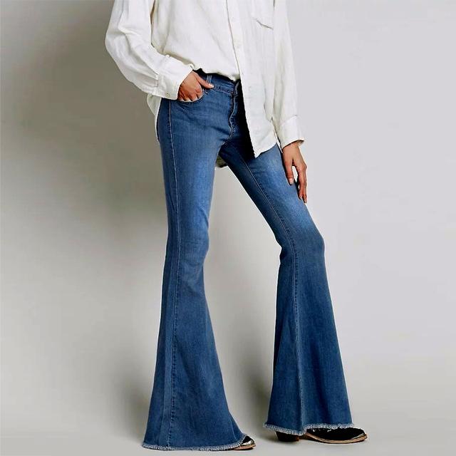 2016 flare baixa cintura elástica calças de brim das mulheres do estilo retro do vintage Fundo sino Magro Calça Jeans Feminina Azul Escuro Denim Perna Larga calças
