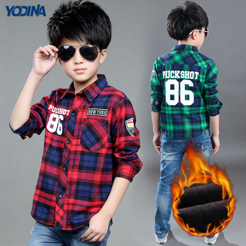 YODINA Kids Clothing Children Blouses Autumn Winter Boys Plaid Shirt Warm Thicken Big Boys Letter Printed Shirt Turn-down Collar купить недорого в Москве