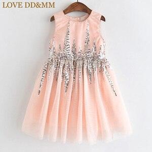 Image 1 - Amour DD & MM filles robes 2019 été nouveaux vêtements pour enfants filles mode paillettes couture maille sans manches robe de princesse