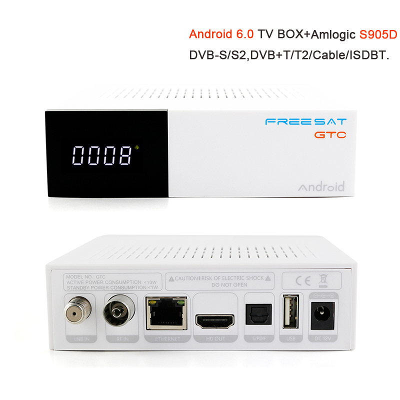 Freesat GTC Satellite Receiver DVB-T2&S2/C+ISDBT Android 6.0 TV Box 2GB/16GB Amlogic S905D Quad-core 4K Wifi BT4.0 Set Top Box car hd wifi tv box dvb t t2 mobile digital tv turner receiver car home outdoor portable ios android freeview life