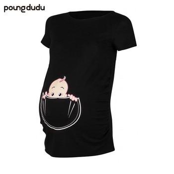 9621ee8b8 Poungdudu de las mujeres embarazadas camiseta lindo travieso de maternidad  de dibujos animados impreso Camiseta con cuello redondo de manga corta de  verano ...
