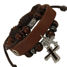 Vintage Retro Handmade Wooden beads Adjustable With the Cross Leather Bracelet For Women Men Unisex Jewelry Star Bracelet Bangle