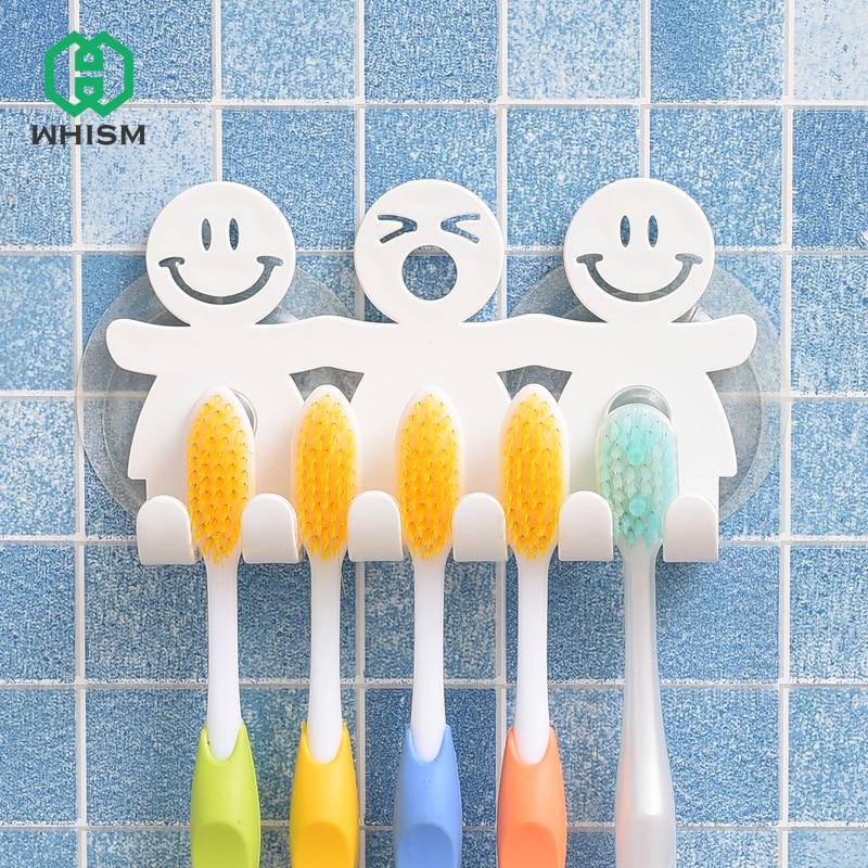 Aranyos fürdőszobai készletek Rajzfilm szopós szívóhorogok 5 pozíció fogkefe tartó környezetbarát barátságos mosolygó arc fogkefe állvány