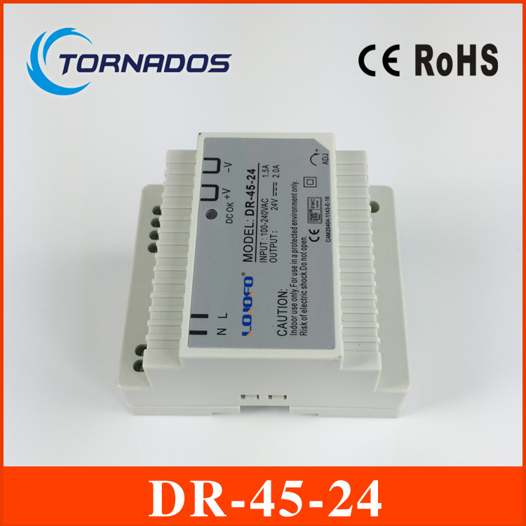 (DR-45-24) 45W 24V switch power source (85-264VAC input) 45W 24v dc din rail power supply free shipping 45
