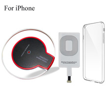 M&C New crystal Qi Wireless Charger Charging Pad for Apple iPhone 5 / 5s SE 6 / 6s / 7 with receiver clear case cover