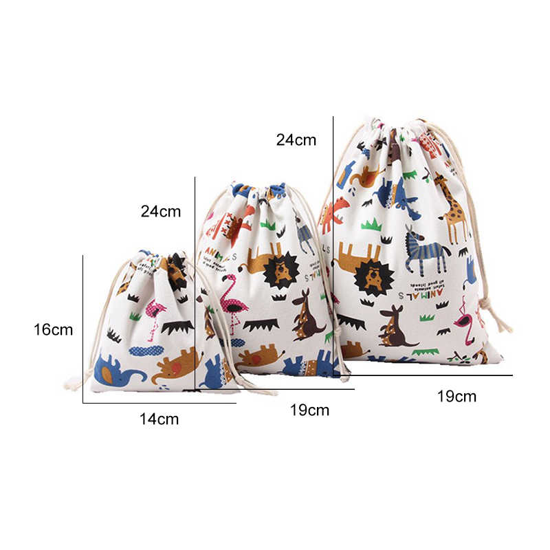 1 PC Tote Drawstring saco de Lona Portátil Saco de Roupas Sapatos Meias Saco de Roupa Interior Saco de Viagem Organizadores De Armazenamento do Brinquedo Animal Impresso