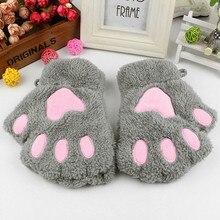 Зимние перчатки, детские модные милые Мультяшные кошачья лапа с когтями, зимние теплые перчатки без пальцев, варежки YE11.24
