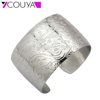Unique Design 2014 New Fashion Big Wide Plain Cuff Bangles Bracelets For Women Jewelry Flower Design