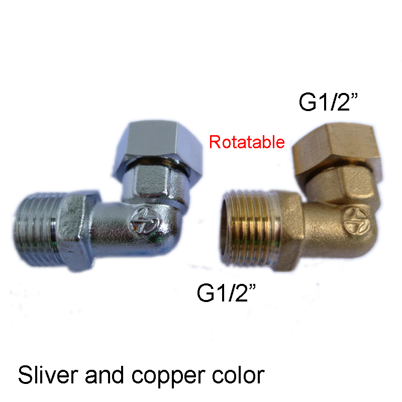 1pc Factory G1/2 Brass Elbow Pipe Fittings Male G1/2 to Female G1/2 Movable Nut Copper Heat Machine Adapter