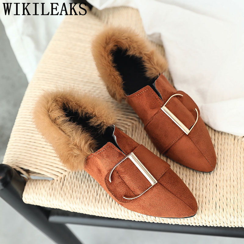 2018 new designer women shoes luxury brand flat shoes women fur slip on loafers zapatillas mujer casual ladies shoes black brown цены