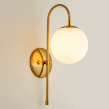 Modern Gold Wall Light White Glass Ball Lamp Bedside Hotel Home Indoor Lighting Fixture LED Creative Lights