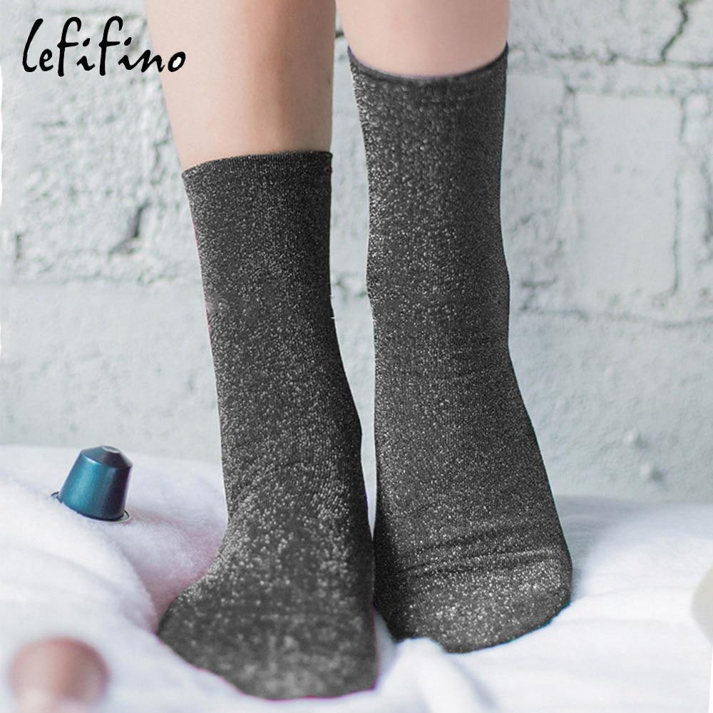 Высококачественные женские блестящие носки, модные женские офисные кружевные носки, однотонные светящиеся короткие носки Ne27926