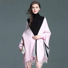 High quality Mid long style batwing sleeve back floral embroidery coat women graceful tasses cape coat winter 2017(China)