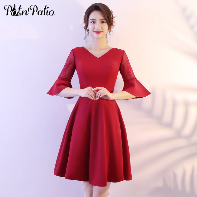 Short Graduation Dresses Wine Red 2018 Elegant Simple Ruffles Half