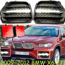 1 set LED luci di circolazione diurne per accessori per auto BMW X6 E71 2009 2010 2011 2012 2013 anno X 6 anteriore della lampada della nebbia drl luce paraurti