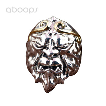 Vintage Solid 925 Sterling Silver Chinese Myth Monkey King Head Open Ring for Men Adjustable Free Shipping
