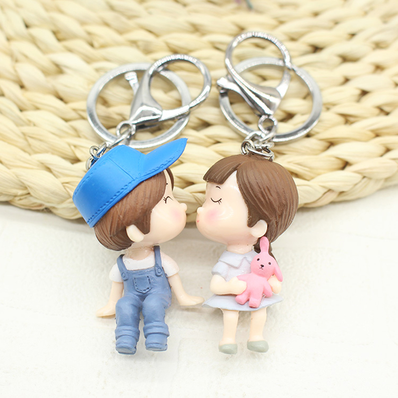 2017 Cartoon Cute Men and Women Couple Keychain Car Key Chain Trinket Alloy Key Ring Cha ...